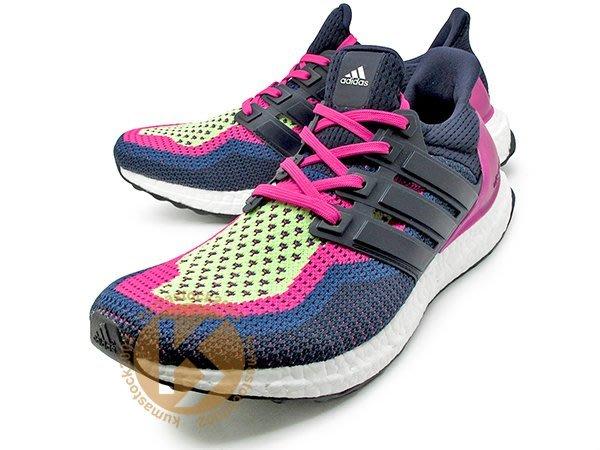 男生尺寸 adidas ULTRA BOOST W PINK NIGHT NAVY 女鞋 深藍桃紅 彩虹 AF5143
