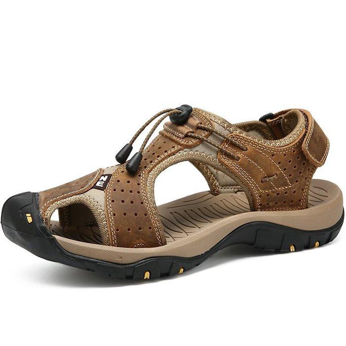 美洋洋@男鞋男士時尚爆款戶外大碼45涼鞋夏季新款包頭鞋洞洞鞋46男潮真皮透氣休閒涼鞋