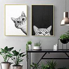 北歐現代小清新可愛貓咪黑白客廳臥室裝飾畫芯高清微噴打印