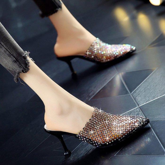 Fashion*包頭細跟外穿羅馬網紅涼拖鞋 透氣鏤空網紗尖頭水鉆高跟涼鞋