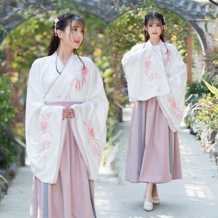 春裝實拍改良明制漢服女 刺繡日常交領兩件套 表演服
