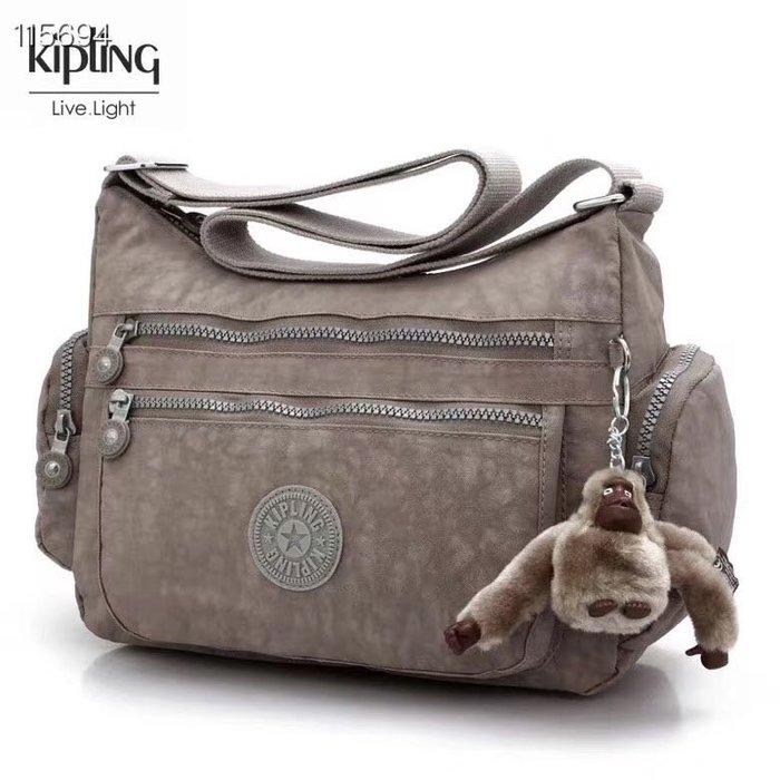 Kipling 猴子包  K132127 灰綠 多夾層拉鍊款輕量斜背包肩背包 大容量 旅遊 防水 限時優惠