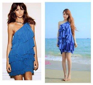 Meico Fashion 美可時尚 H&M  藍色單肩雪紡多層次小禮服洋裝 (現貨) Sale~