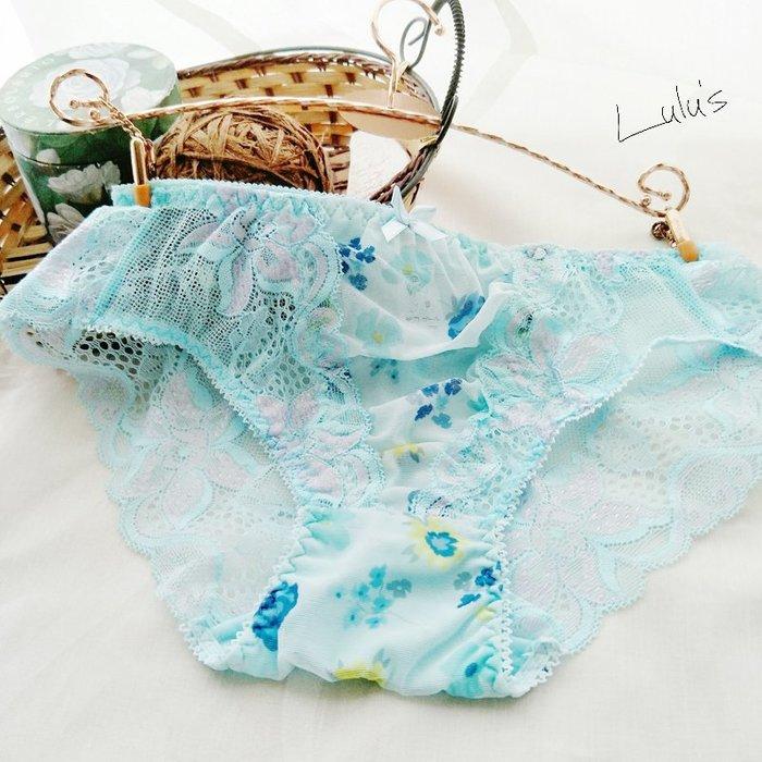 * 低腰內褲 *❉︵ 甜美 小性感蕾絲印花網紗低腰內褲︵❉藍色。Let's Go lulu's。AC74