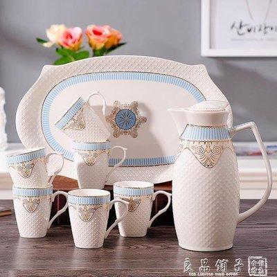哆啦本鋪 家用水具套裝陶瓷冷水壺創意涼水壺耐熱防爆花茶壺水杯具套裝歐式 D655