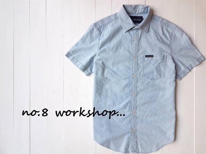 T☆【CK男生館】☆【Calvin Klein單寧口袋短袖襯衫】☆【CK003B1】(S-M)原價2099 9/23
