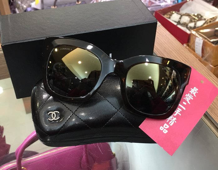 ☆最愛二手精品☆ CHANEL 香奈兒深咖啡色玳瑁框側雙C LOGO 太陽眼鏡墨鏡 XD3587