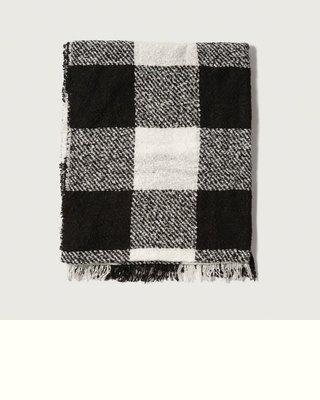 【天普小棧】A&F Abercrombie&Fitch Plaid Scarf超大黑白方格紋圍巾披肩