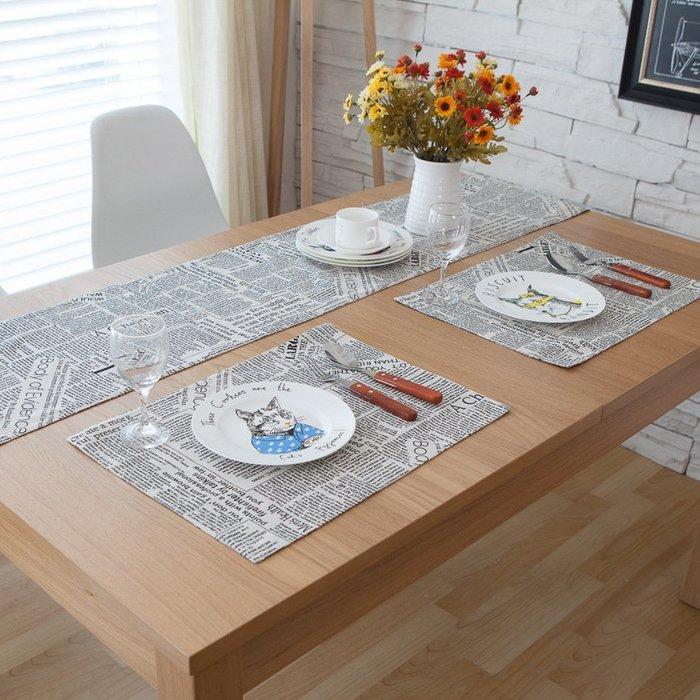 【可可里】歐式英倫風餐桌旗北歐復古棉麻茶幾旗黑色英文報紙床旗床巾