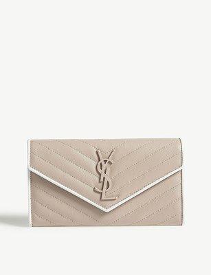 SAINT LAURENT Monogram quilted leather wallet 魚子醬紋 長夾 奶茶色