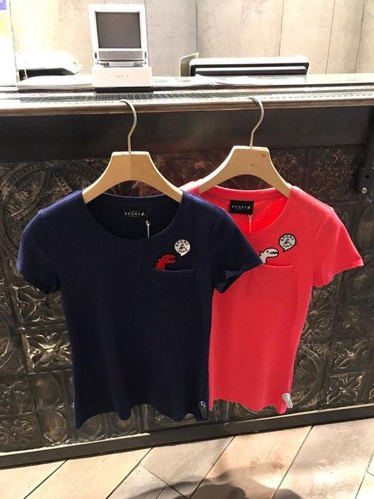 正品agnes b.新款2018 SPORT B.小恐龍口袋V領女裝纯棉 短袖 T恤