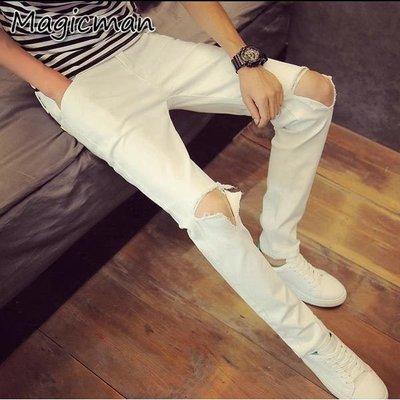 【現貨】牛仔褲 GD手工割破彈力小腳褲 窄管褲( R1695 )