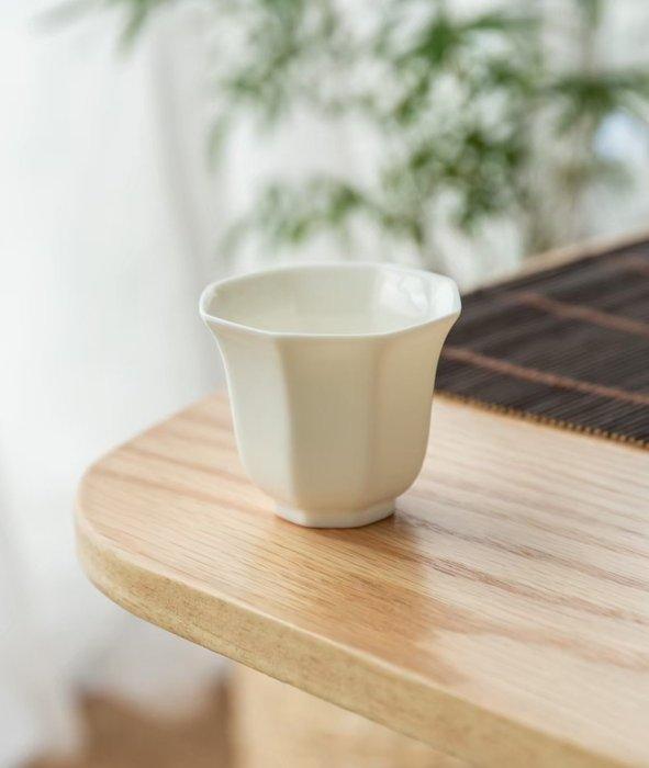 【茶嶺古道】玉瓷 撇口 八角杯 / 白瓷 德化白 透光 反口 茶杯 品茗杯 功夫茶具