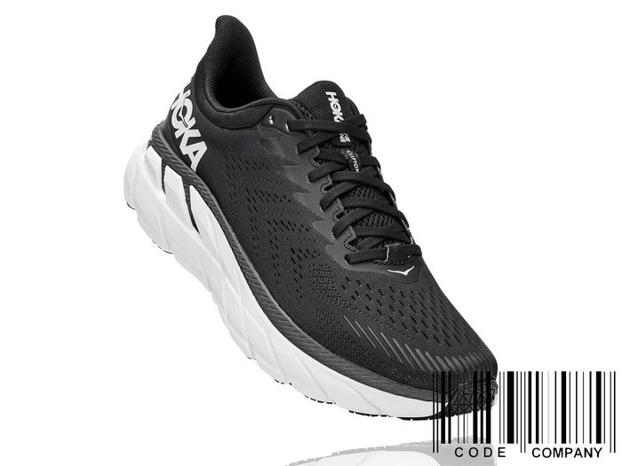 =CodE= HOKA ONE ONE CLIFTON 7 WIDE 網布慢跑鞋(黑白)1110534BWHT 路跑 男