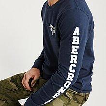 Abercrombie & Fitch A&F 麋鹿  袖子貼布 長T 車繡 LOGO 藍色