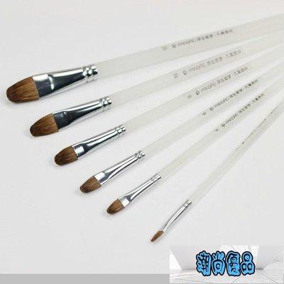 畫筆 6支裝磨砂桿圓鋒狼毫畫筆水粉畫筆...