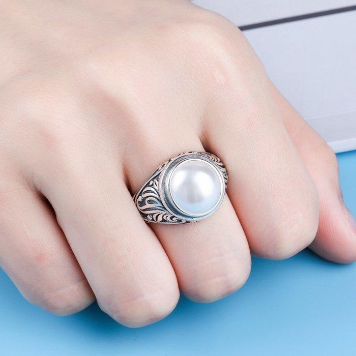 DIY首飾 配件 原創首飾925純銀男士女士純銀戒指空托 鑲嵌綠松石青金復古戒托銀托14*14