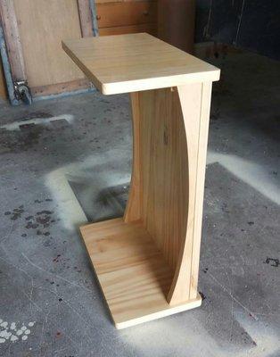 美生活館---全新 客訂 全原木 淺木色 ㄈ 字型 邊几 小茶几 扶手桌 輔助桌