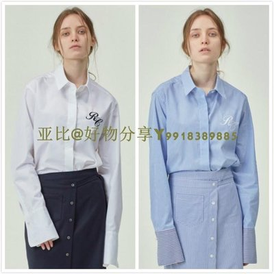 亚比@好物分享 韓國代購 RECTO. OVER-CUFFS SLEEVE 刺繡logo長袖襯衫 2色