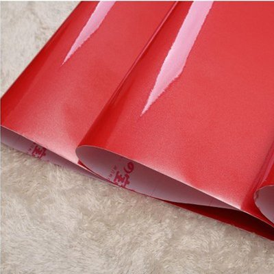 5Cgo【宅神】含稅會員有優惠19167205746 PVC防水防油反光烤漆紅色自貼櫥房衣櫃家具翻新貼紙自粘牆紙壁紙