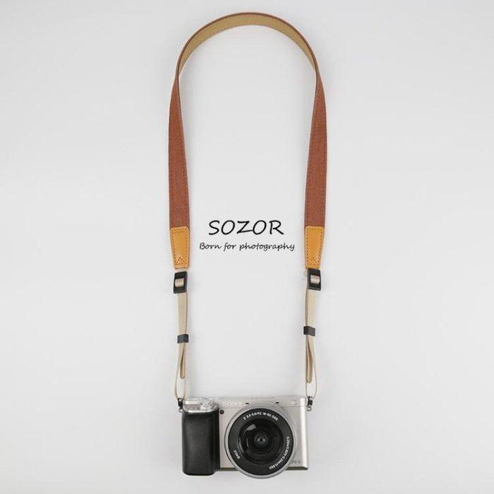 Sozor數碼相機肩帶 微單反背帶復古文藝牛仔減壓相機帶卡片機掛繩