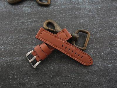 棕色~高質感22mm替代沛納海PANERAI tuna 直身牛皮softy calf 錶帶棕色車縫線