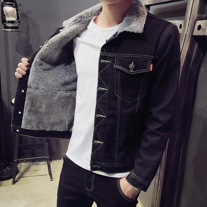 2018冬季新款男士牛仔外套加絨加厚保暖棉衣韓版修身潮流大碼夾克  【PinkQ】