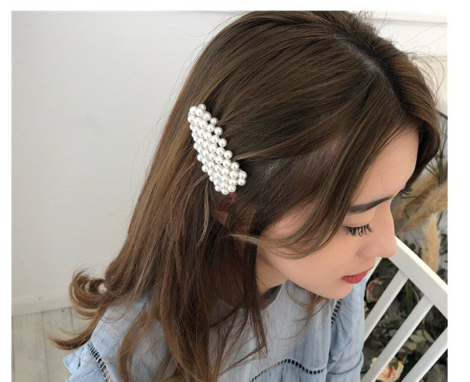 H-223韓國東大門手工魚線編織人氣甜美三角形珍珠髮夾網紅同款邊夾