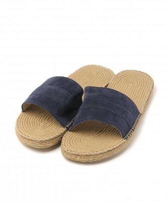 日牌 rageblue 麂皮 海軍藍 竹編織  26-27cm 拖鞋