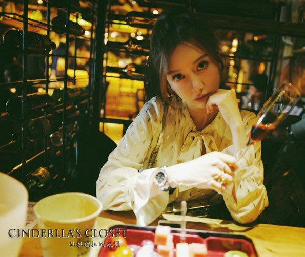 《仙杜瑞拉的衣櫃》s0936 米白色 金色葉子 綁帶長袖雪紡襯衫