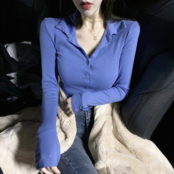 韓版小港風洋氣長袖T恤女修身顯瘦打底衫2019新款內搭秋季上衣潮  衣品居 YPJ