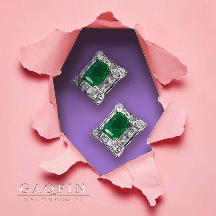 【高品珠寶】尚比亞微油祖母綠耳環 鑽石耳環 18k #923