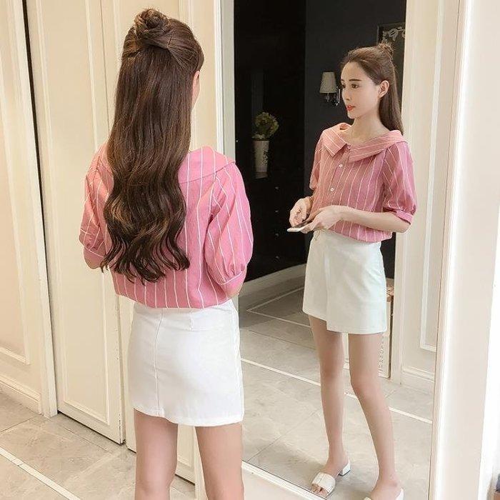 短袖襯衣 2019新款夏季寬鬆小清新學生條紋短袖襯衣bf韓版上衣娃娃領襯衫女 探索