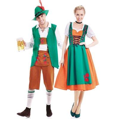 CD變裝cos服~綠色啤酒服裝男款女款情侶套裝萬圣節聚會服裝啤酒節促銷服工作服