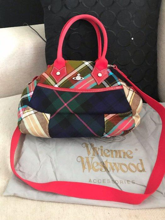 正品二手Vivienne Westwood 紅色格紋圖案花呢手提斜背兩用包