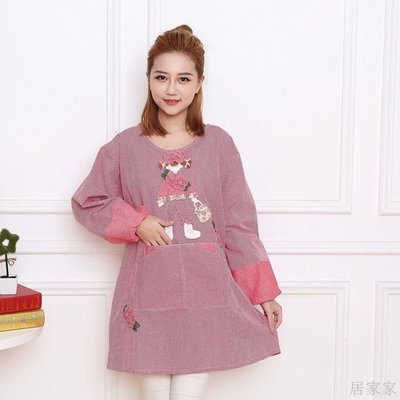 居家家 長袖罩衣純棉冬季薄款做飯圍裙可愛女士大號新款卡通韓版圍衣