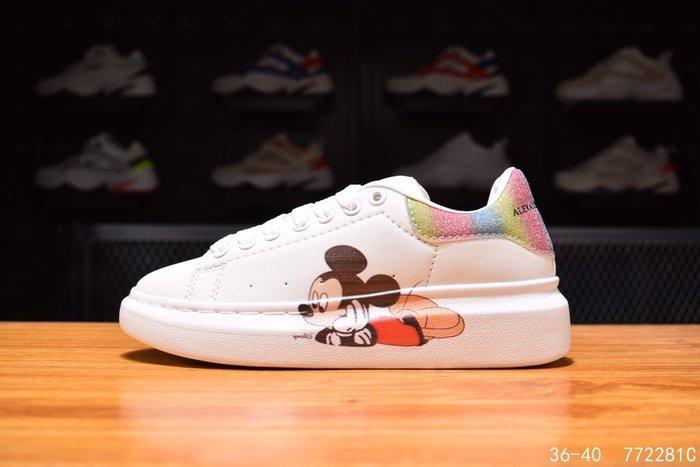 酷兒の體育 Alexander McQuee 2020新款麥昆米奇米老鼠5D彩印 休閒運動板鞋 頭層皮 白色