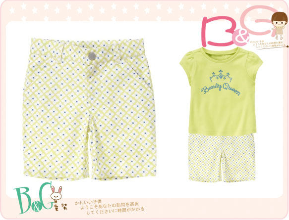 【B& G童裝】正品美國進口GYMBOREE四片葉圖樣青綠色短褲4,5yrs