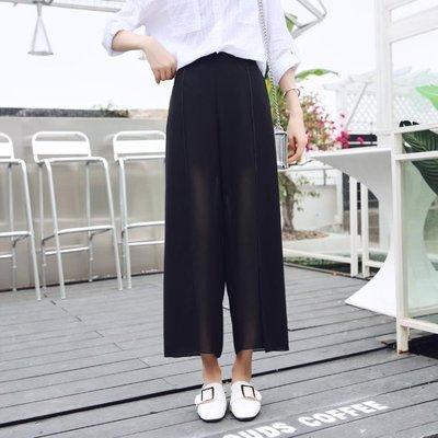 闊腿褲裙女夏 2019新款高腰顯瘦九分...