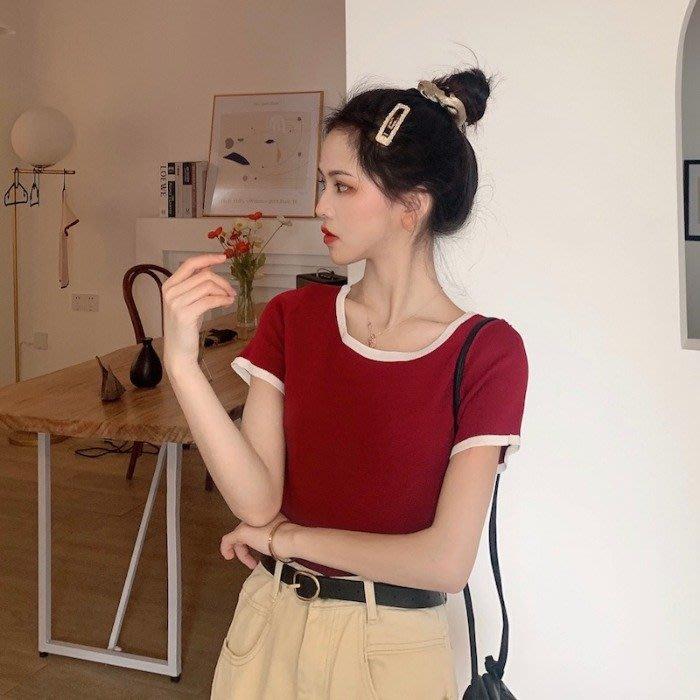 短袖針織衫 冰絲 韓版法式小眾學生百搭圓領撞色針織短袖上衣t恤女裝