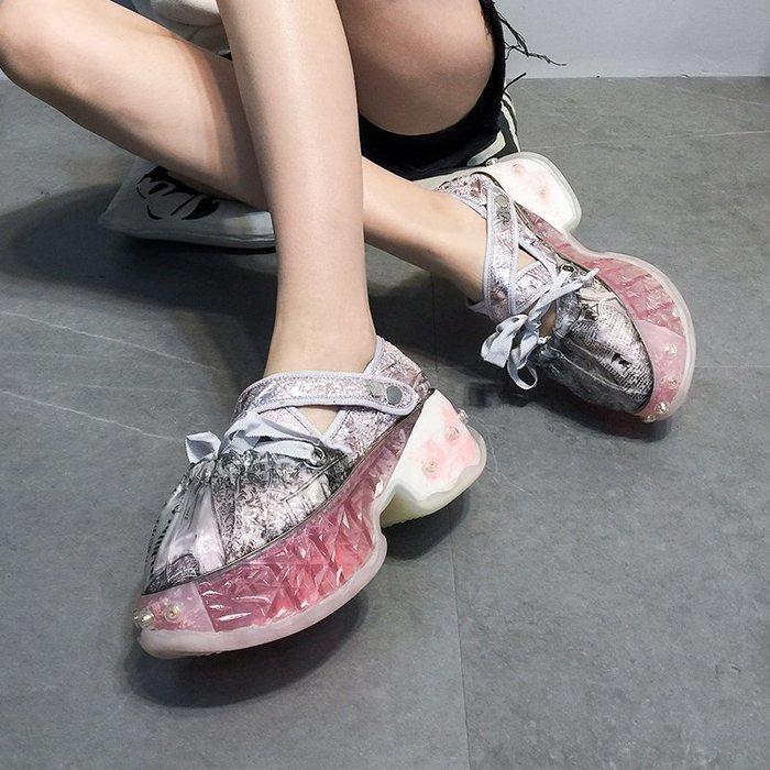 ~Linda~女鞋2019春季新款休閒鞋厚底松糕鞋百搭網紅鞋子增高單鞋潮