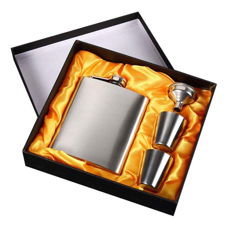 加厚7盎司德國高檔304不銹鋼隨身戶外便攜式小酒壺扁酒瓶具水壺