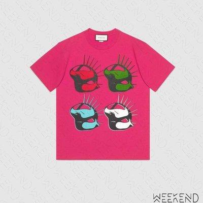 【WEEKEND】 GUCCI Manifesto 面具 短袖 上衣 T恤 桃紅色 492347 19秋冬