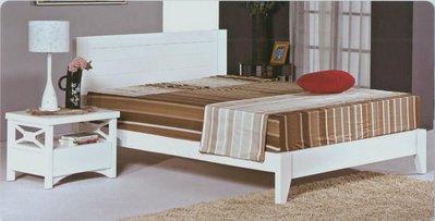 凱西 地中海風情5尺精製白色實木雙人床架/床台 傢俱 出清特價