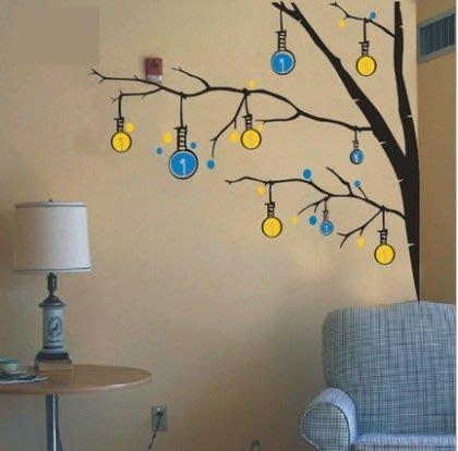 小妮子的家@溫馨小彩燈樹壁貼/牆貼/玻璃貼/汽車貼/安全帽貼/磁磚貼/家具貼
