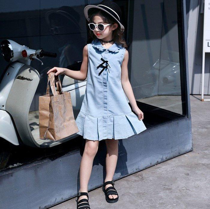 日韓歐美♥韓版中大女童洋裝 百搭牛仔連身裙 無袖背心裙【E905】