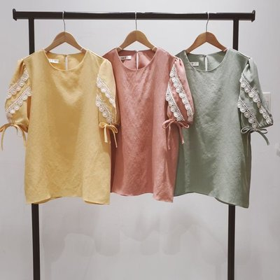 【莉莎小屋】正韓 春款新品(預購) 💝韓國連線代購-袖蕾絲條衫👚👖 OS210323