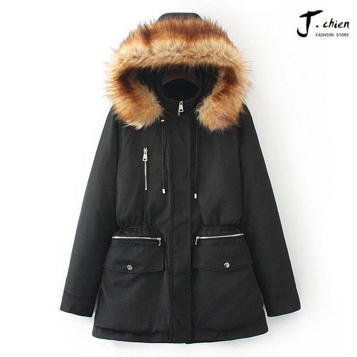 J.chien ~[全館免運] ZARA同款羽絨外套 韓版時尚外套 大衣 軍外套 防風外套 顯瘦外套