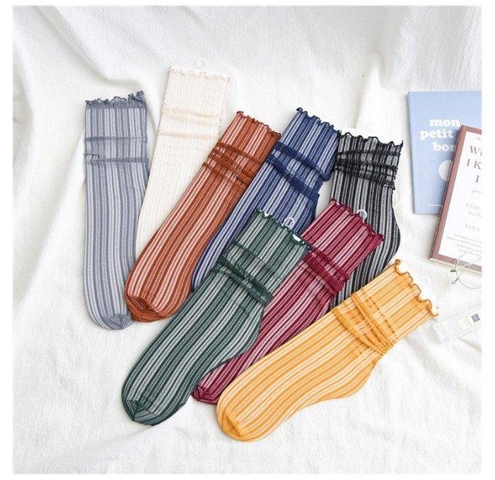 *╮S.water shop╭*  銀蔥豎條紋 木耳花邊涼鞋襪短襪水晶玻璃絲襪  FN#00032-01共8色