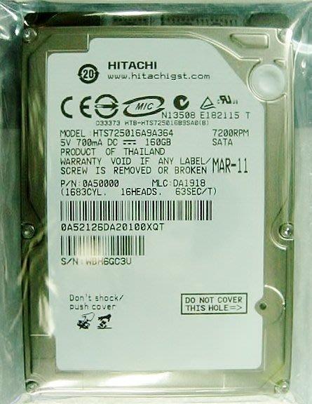 保固12個月【小劉硬碟批發】全新Seagate,TOSHIBA,HITACHI,WD 2.5吋160GSATA 筆電硬碟